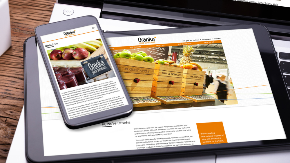 oranka website on a phone and ipad