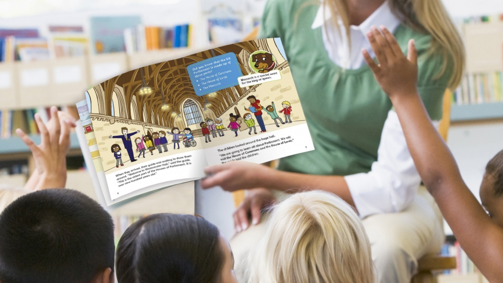 UK Parliament Key Stage 1 book being read to class